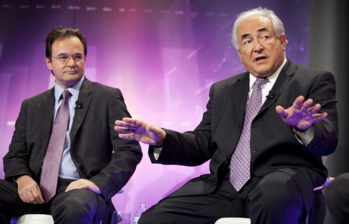 """Greece's Finance Minister George Papaconstantinou (L) and International Monetary Fund's Managing Director Dominique Strauss-Kahn (R)participate in the """"BBC World Debate: Stimulate or Consolidate"""" October 8, 2010 at Constitution Hall in Washington, DC. IMF Photograph/Stephen Jaffe"""