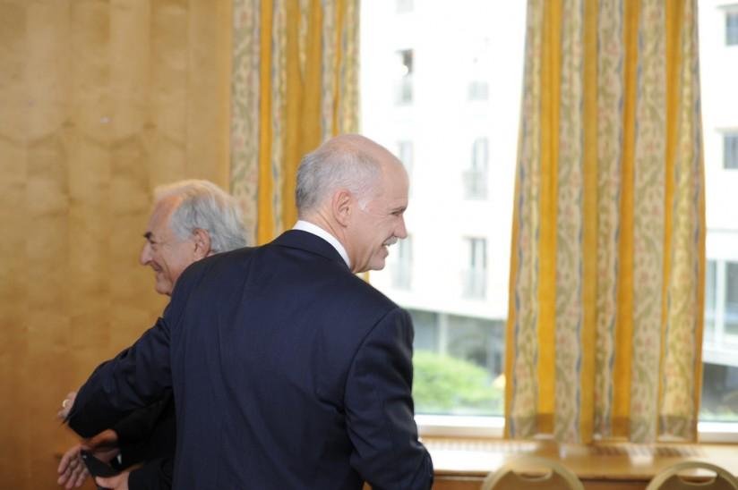 Ο Ντομινίκ Στρος Καν με τον τότε πρωθυπουργό Γιώργο Παπανδρέου: Διαφορετικοί δρόμοι, διαφορετικοί στόχοι... Photographer-Rune-Kongsro, IMF-flickr